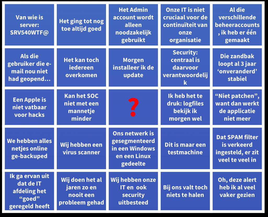 excuus bingo security beleid month eu